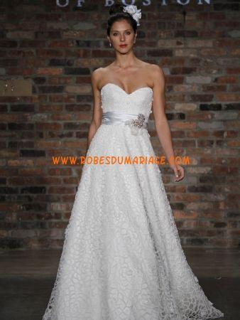 Prestcilla de Boston sans bretelle robe de mariée col en cœur avec ceinture organza Style 4613