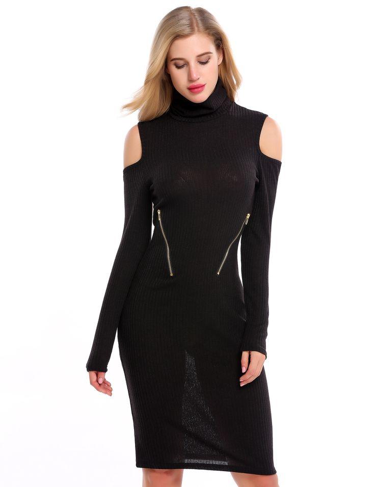White Turtleneck Cold Shoulder Zip Bodycon Sweater Dress