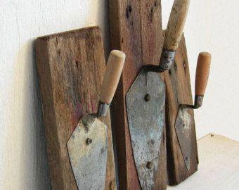 Primitive Coat Rack 5 Vintage Tool Storage by SweetDaphneVintage