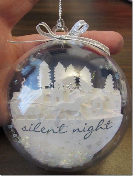 """Sleigh Ride Edgelits, Jingle All The Way, 1/8"""" Silver Taffeta Ribbon, Thick White cardstock, Plastic Ornament, Silver Cording Trim - Ornament"""