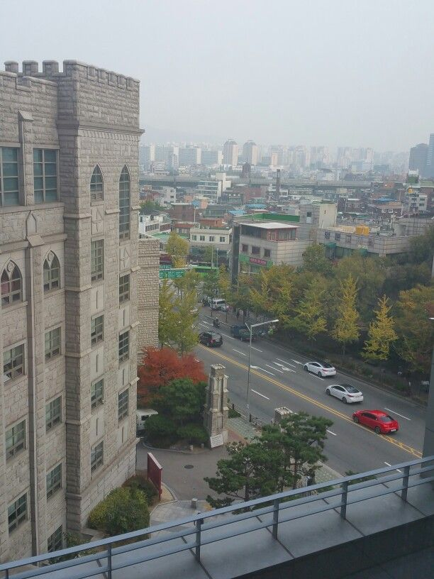 Looking out, from Korea University, towards Dongdaemun