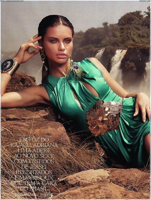 Sexy green gown on Adriana Lima