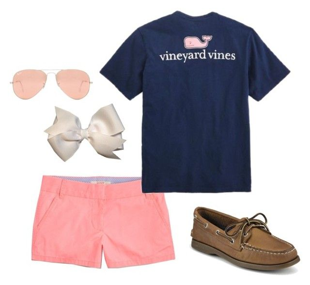 """""""Casual preppy outfit"""" by acbsoccer on Polyvore featuring J.Crew, Vineyard Vines, Sperry and Ray-Ban"""