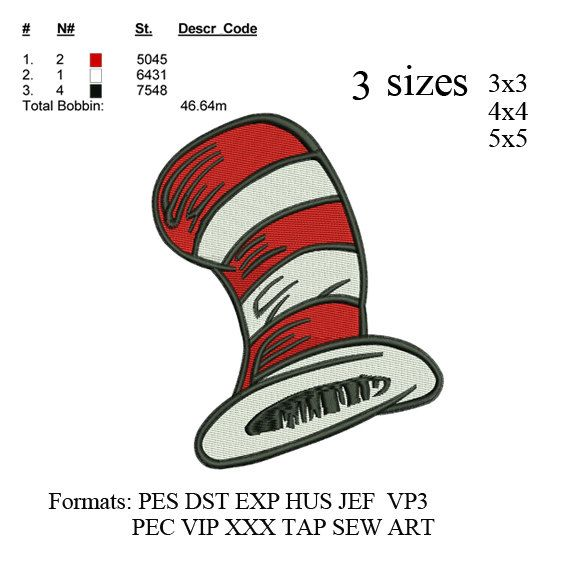 Dr Seuss Hat embroidery machine . embroidery pattern . embroidery designs 3…