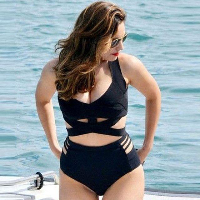 S-3XL Plus size Bandage Swimwear Women Black cross wrap Bikini Cintura High waist swimsuit extra large bathing suit bather