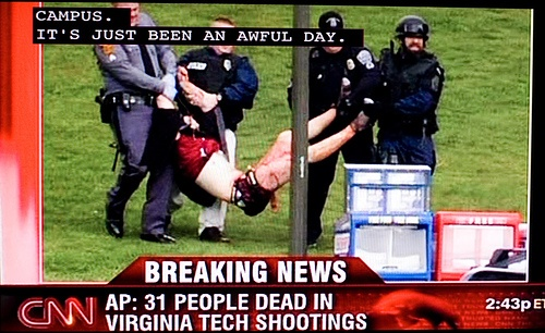 The Virginia Tech shooting - Student Seung-Hui Cho killed 32 people on Virginia Tech's campus in 2007.