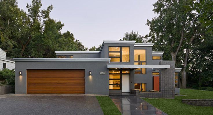 Modern Flat Roof Design Love The Grey Rendered Walls Skillion
