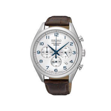 SSB229P1 Ανδρικό μοντέρνο ρολόι SEIKO με χρονογράφο, ημερομηνία, γκρι καντράν, στεφάνη & καφέ κροκό δέρμα | SEIKO ρολόγια ΤΣΑΛΔΑΡΗΣ στο Χαλάνδρι #Seiko #χρονογραφος #ασπρο #λουρι #ρολοι