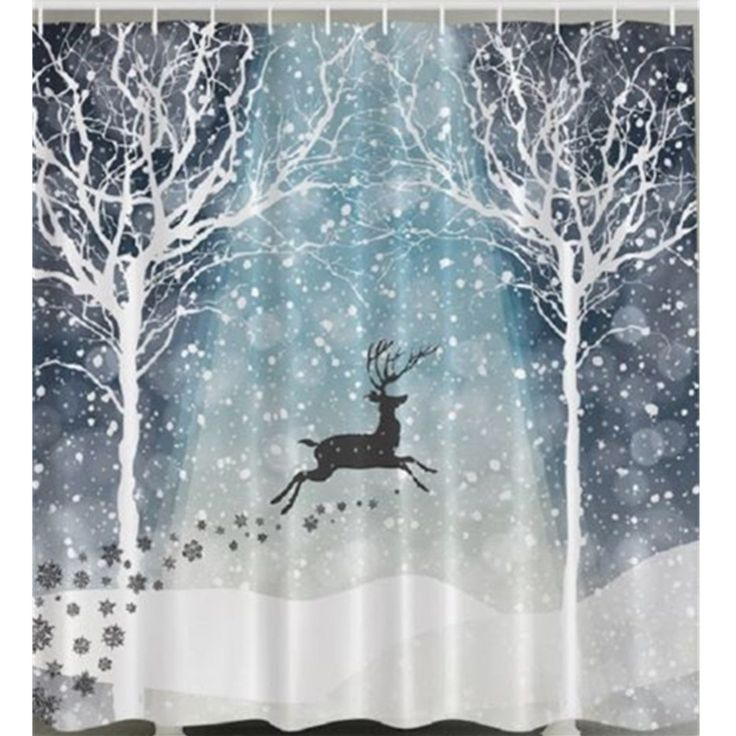Reindeer in the Snow Christmas Theme Fabric Shower Curtain