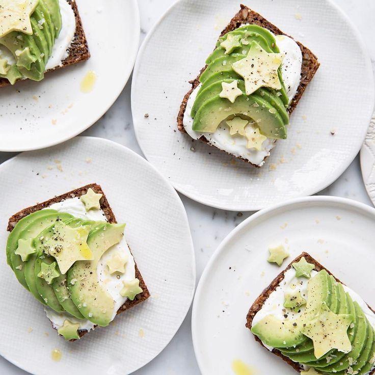 Avocado toast with star cutouts