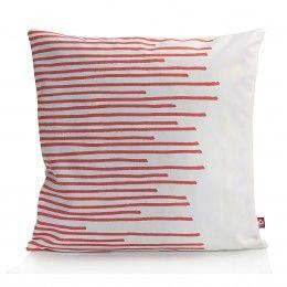 #Holland #Design Zierkissen Stripes in Weiß mit Koralle kaufen bei Holland Design & Gifts #HDG