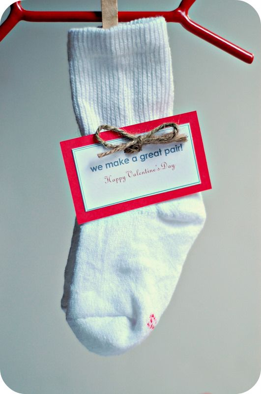 We Make a Great Pair: Take a walk through the dollar store or the bargain aisle at your favorite discount store and gather up as many pairs of baby socks as possible. Download Saltwater Kids' free We Make a Great Pair card, and your valentines are ready to go!