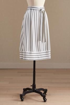 Versona belted a-line striped skirt #Versona