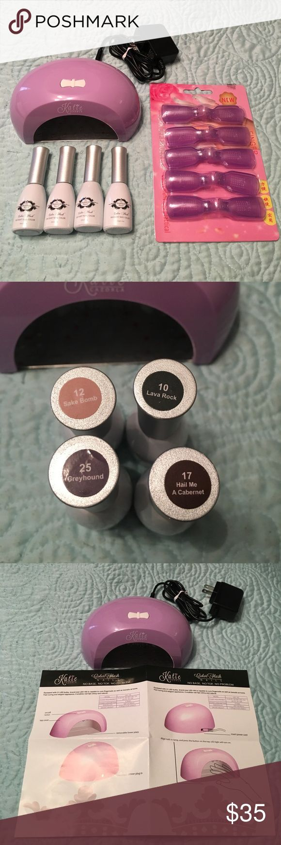 Gel Nail Polish (4), Dryer, Soak Off Fingerclips Four gel colors (see photo), brand new dryer, and pack of ten finger clips.  Sampled the deep red color but otherwise brand new.  I just don't have the patience for gel polish!  Brand is Katie Cazorla. Makeup Brushes & Tools