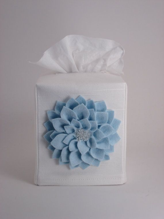 White Tissue Box Cover with Felt Beaded Dahlia