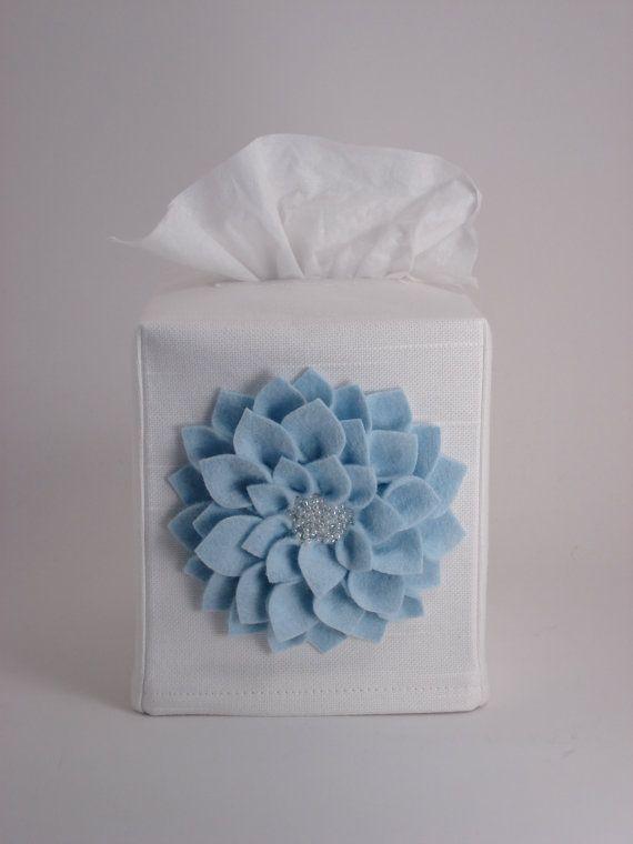 White Tissue Box Cover with Felt Beaded Dahlia