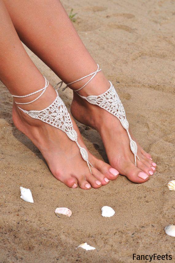 Gehäkelte Elfenbein barfuss Sandalen Fuß-Schmuck von FancyFeetsShop