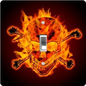 """Rikki KnightTM Burning Metallic Skull and Crossbones - Single Toggle Light Switch Cover by Rikki Knight. $13.99. The Burning Metallic Skull and Crossbones single toggle light switch cover is made of commercial vibrant quality masonite Hardboard that is cut into 5"""" Square with 1'8"""" thick material. The Beautiful Art Photo Reproduction is printed directly into the switch plate and not decoupaged which make these Light Switch Plates suitable for use in any room in the of..."""