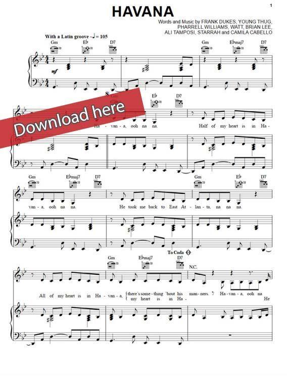 Camila Cabello Havana Sheet Music Piano Notes Chords Sheet