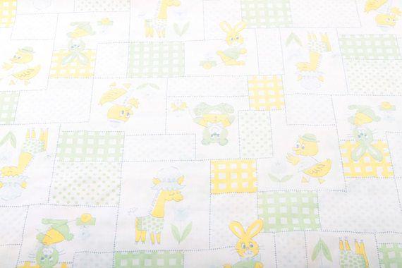 Vintage Baby Crib Sheet Gender Neutral Yellow Green Ducks Teddy Bear Rabbits Giraffe 1970's Cute Quilt Vintage   170122 by ThePinkRoom