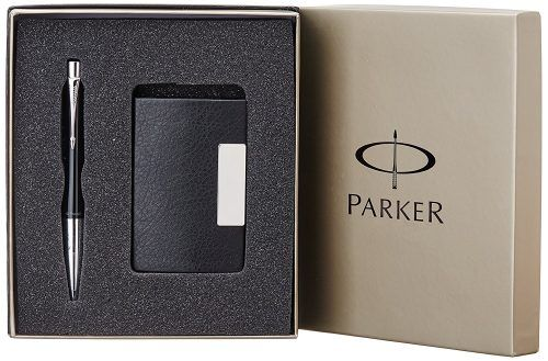 Parker Urban Fashion London Black CT Ball Pen Gift Set  Blue Ink with Card Holder At Rs. 799 From Amazon
