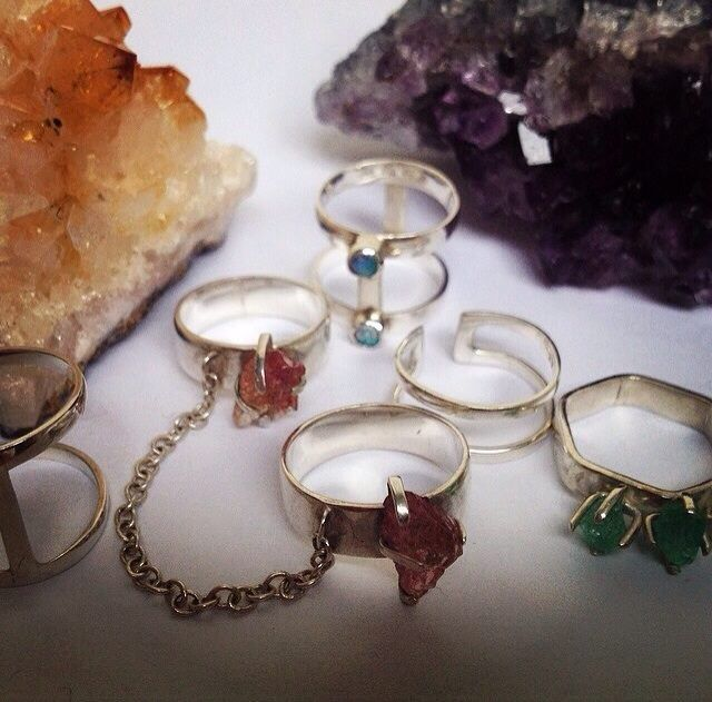 Trix, Cats Eyes, Orbit & Figment rings, available at www.rawjewellery.co.uk