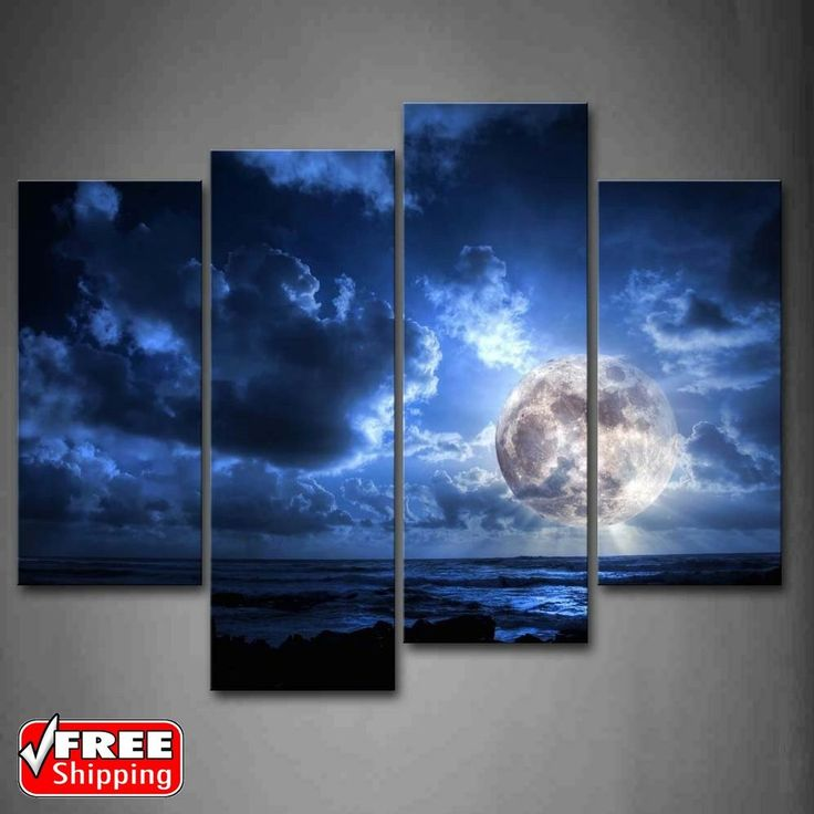 Blue Moon Covered By Dark Cloud Canvas Wall Art Pictures Photo Print Home Decor is ready to Hang, Each Panel Has A Wide Hook Already Attached for Easy Hanging. High definition superior inject machinery printing on good quality canvas, waterproof, non-fading.   eBay!