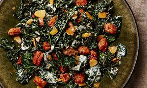 Cavolo nero (Lacinato or black kale) with chorizo and preserved lemon | by Ottolenghi in The Guardian