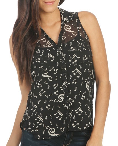 Chiffon Music Notes Shirt from WetSeal.com Definitely getting this!