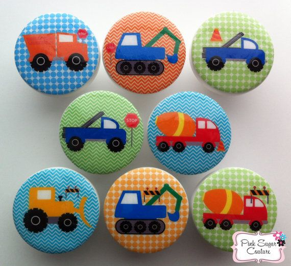 CONSTRUCTION TRUCKS KNOBS boys drawer pulls decor kids art cement dump truck bulldozer chevron dots blue green orange on Etsy, $36.00