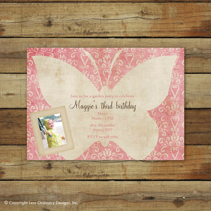 butterfly garden birthday party invitation - custom