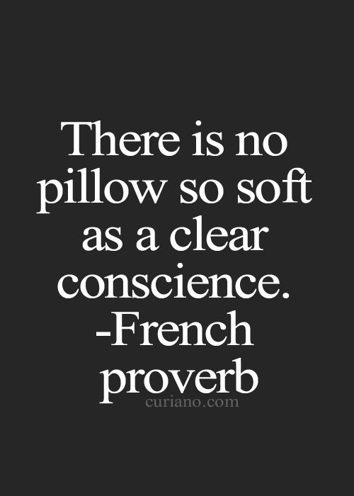 There is no pillow so soft as a clear conscious.