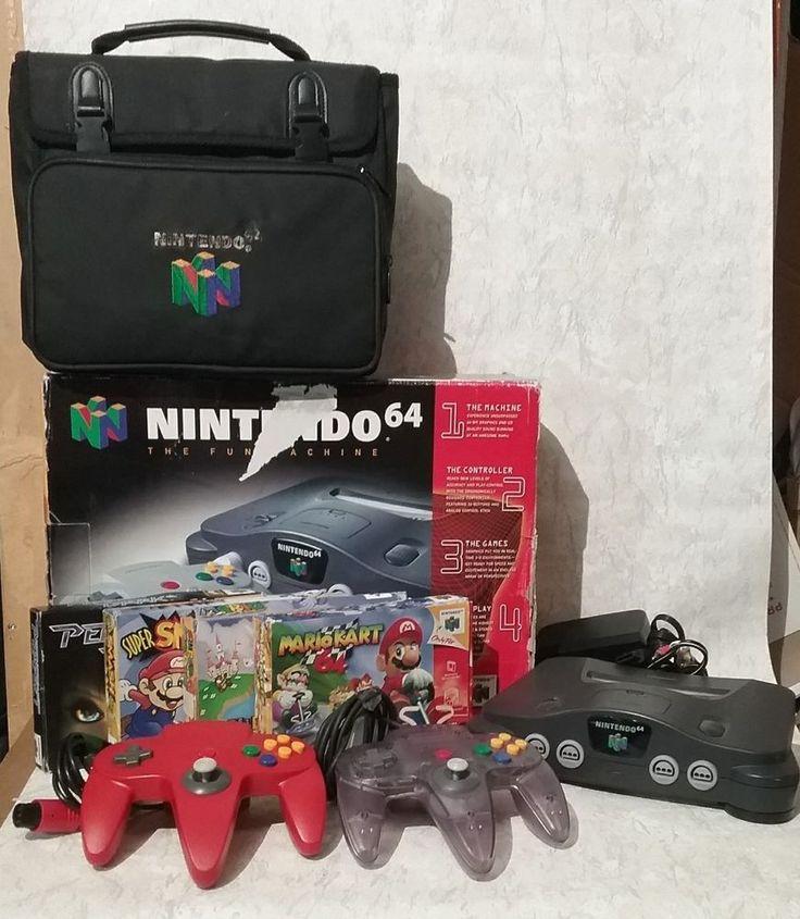 N64 Nintendo 64 w/2 Controllers, Bag, Mario Kart 64, Smash Bros, Super Mario  #Nintendo