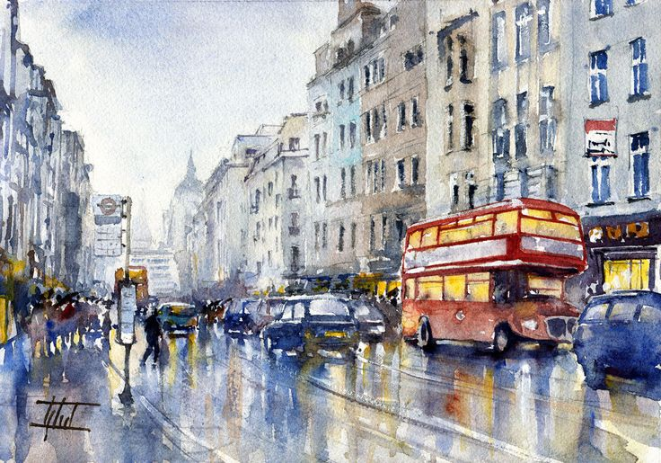 #London, UK #Watercolour - 21cm x 30cm Jaroslaw Glod - http://www.artende.pl