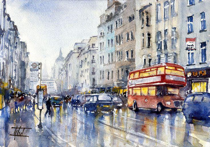 #London, UK #Watercolour - 21cm x 30cm Jaroslaw Glod - http://www.artende.pl