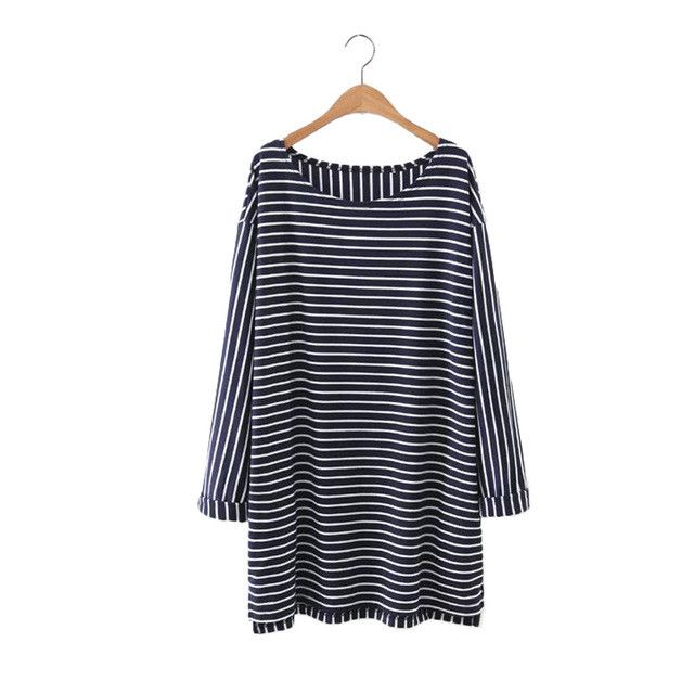women elegant striped oversized long T shirt dress long sleeve o neck loose tees ladies autumn casual tops Camisetas
