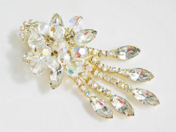 Vintage Crystal Rhinestone Dangle Brooch by GrandVintageFinery, $28.95