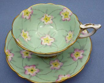 Vintage Royal Stafford Tea Cup and Saucer, Elegant Shape Bone China Teacup, Mint Green Soft Pink Flowers, Gold Trim Scalloped Rims, England