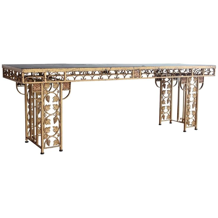 Spectacular French Gilded Wrought Iron Winery Table  Traditional, Metal, Console Table by Architectural Anarchy (=)