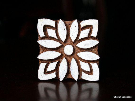 Hand Carved Indian Wood Textile Stamp Block- Square Floral Motif via Etsy