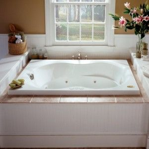 Bathroom Decoration With Jetted Tub And Wainscoting Also