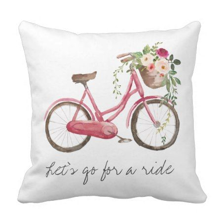 Spring Flower Bike Throw Pillow - #cusion #throwpillow #pillow #vintage #bike #homedecor