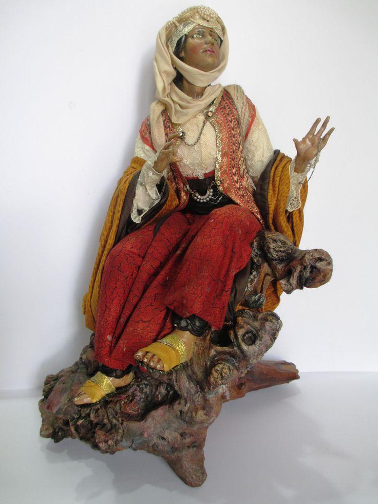 pastori in stile settecento napoletano.teste mani piedi in ceramica dipinta con colori ad olio