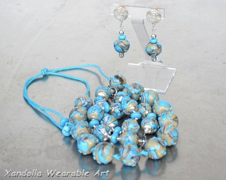 Turquoise and 50 Shades Baubles series - one of my favourites.  Necklace, bracelet and earrings by Su Bishop of Xandolla Wearable Art.
