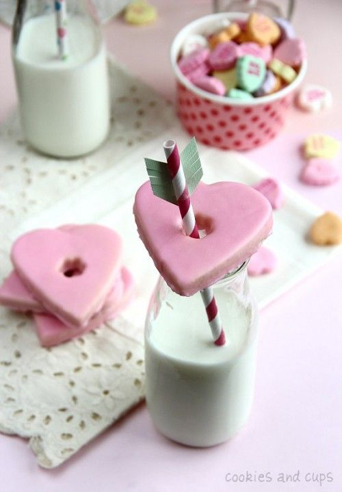 Valentine's Day cookies & milk! This website has some great visuals/ideas.