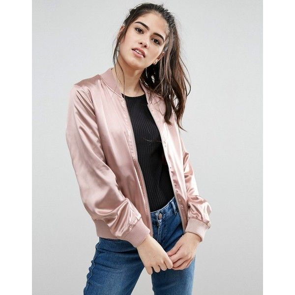 Only Starly Satin Bomber Jacket ($32) ❤ liked on Polyvore featuring outerwear, jackets, pink, pocket jacket, bomber jacket, flight jacket, blouson jacket and zip bomber jacket