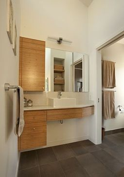 Master Bathroom, Modern Ranch House Conversion 2, Mountain View, CA: A collaboration with the owners! This open vanity area is accessible of...