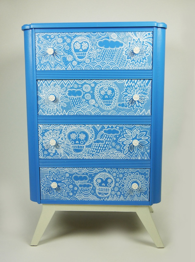 Mexican Skull Inspired Upycled Chest of Drawers