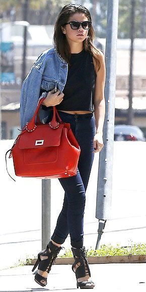 6d1d225a32ac Selena Gomez Denim Jacket Black Top High Waisted Jeans Lace Up Heels Style