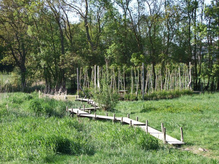 Le chemin de planche pour accéder à l'observatoire et à la table de lecture du paysage